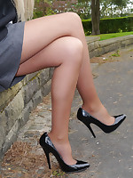 Cute Claire is outdoors in tall black high heel shoes and sexy nylons flaunting say no to lovely long legs
