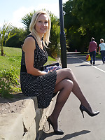 Spectacular stiletto wearing lady Monica, is outdoors in a lovely dress with narrow pointy high heel shoes