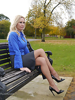 Hot blonde Milf Monica shows elsewhere her hot legs and shiny black stiletto heels