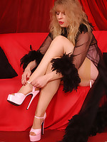 Angel in skinned colored seamless and sheer stockings