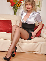 Angel Lovette in classic outfit and ff stockings