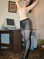 Pantyhose fetish girl pleases her pussy