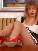 Blonde maid in sexy sheer pantyhose
