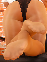 Patsy the suntan Pantyhose Secretary