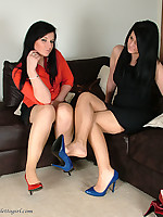 Red and Blue stilettos are looking so sexy on these two babes