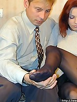 Footjob and pussy liking through nylon