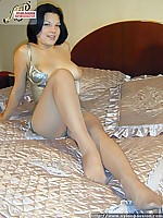 pantyhosed girl in sexy silvery dress