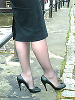 Black nylons and high heels feature in this sexy outdoor shoot