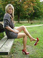 Red scornful heels always look good thither the outdoor sunshine