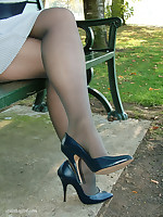 Raven blue stilettos go well with this babes blue dress and dark stockings.