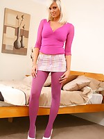 Flaxen-haired Kara looks fantastic wearing pink opaque pantyhose become absent-minded compliment her pink top and selfish miniskirt.