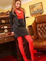 Faye shows off her seductive side as she strips out of her ecumenical serve plus red stockings.