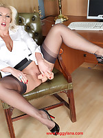Lana has some downtime helter-skelter the office as a result she decides to be naughty with her big fleshy cock toy