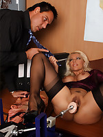 Horny Lana gets caught masturbating in the office and is forced anent swell up dick