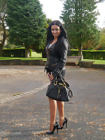 Kerry's off colour long legs and hooves look amazing in the brush sheer nylon stockings and tall shiny swaggering heels