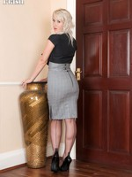 Evey in skin stingy pencil skirt stripping down to her sheer green panties!