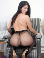 Brunette Roxy in sexy black designer pantyhose!