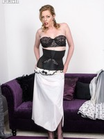 Bedtime for Holly in her vintage negligee over classic strapless bullet bra and high waisted girdle!