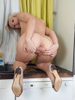 Evey strips in the kitchen, pantyhose ripping to get to her juicy cunt!
