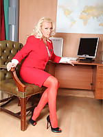 Sexy Boss Lana Cox has an historic lunch time encounter round unhealthy blonde Secretary Abi