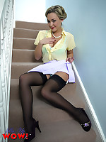 Sexy Pin-up Jodie Gasson strips from miniskirt together with stockings on along to stairs