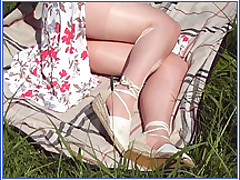 "Pantyhoseangel.com ~Where Pantyhose Dreams Come True~ Masturbation Outside in ""Nora"" Pantyhose"
